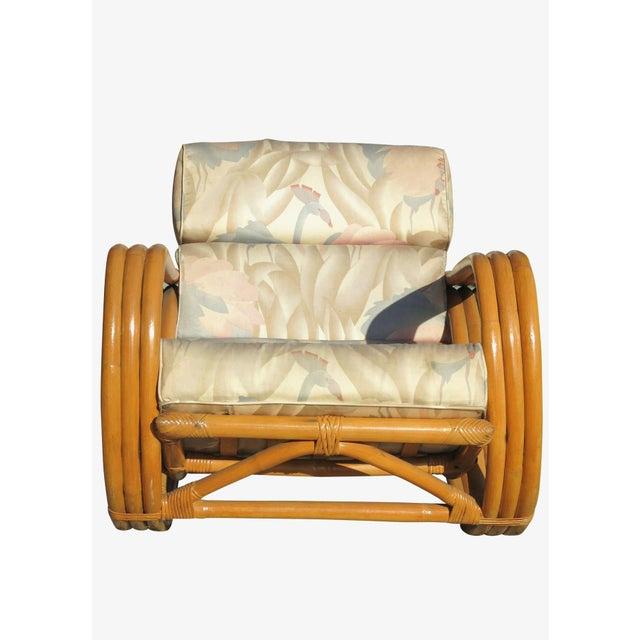 Hollywood Regency Restored Pretzel Arm Rattan Rocking Chair & Ottoman For Sale - Image 3 of 9