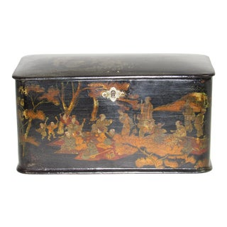Chinoiserie Paper Maché Tea Caddy For Sale