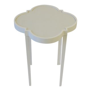 White Lacquer Side or Drinks Table With Geometric Design For Sale
