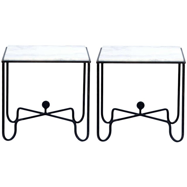 """Contemporary """"Entretoise"""" Wrought Iron and Marble Tables - a Pair For Sale"""