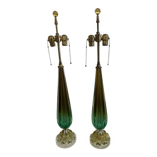 Mid-Century Modern Murano Glass Lamps on Lucite Base - a Pair For Sale