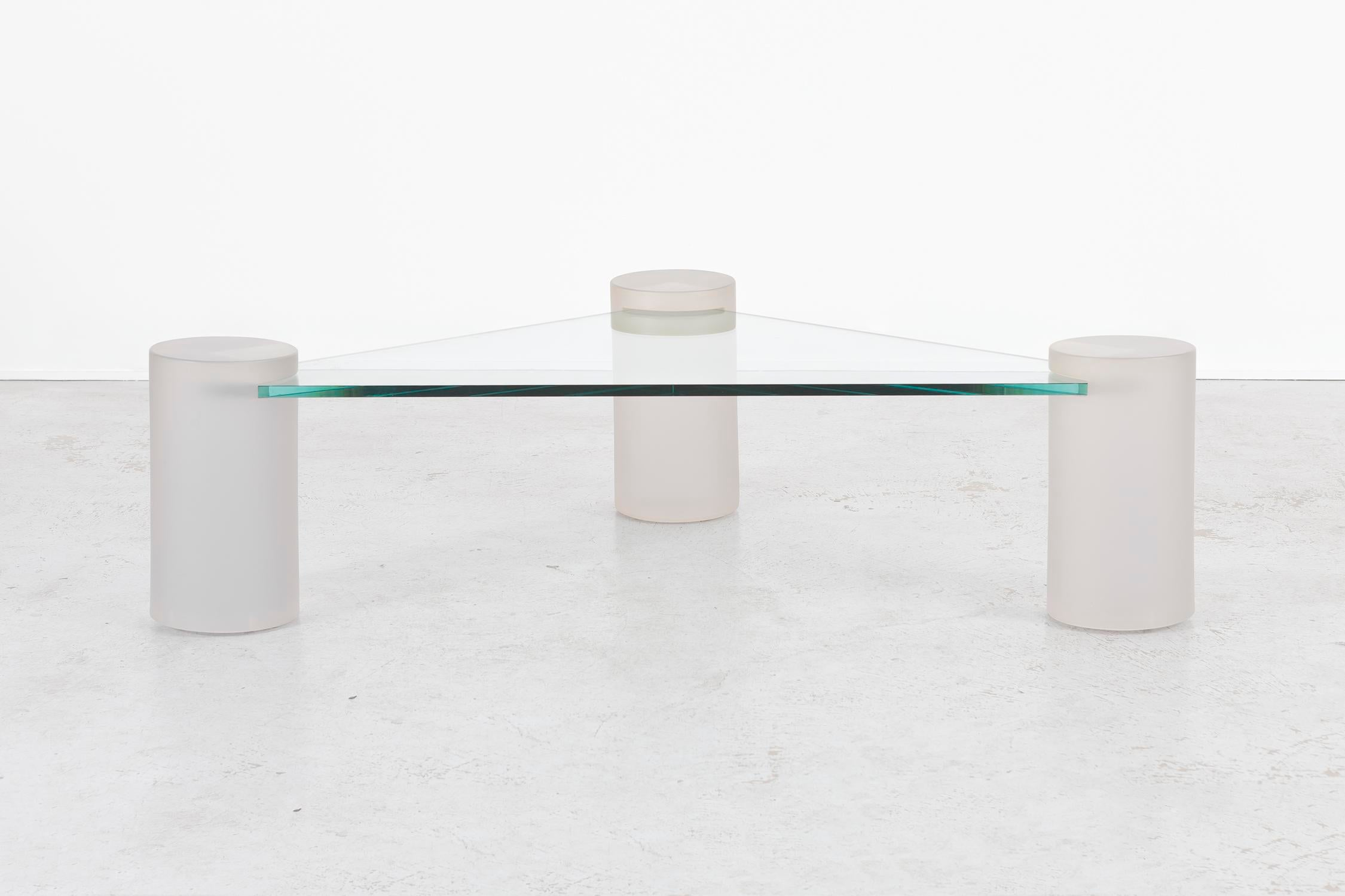 Sculptural Coffee Table Designed By Lion In Frost USA, C 1970s Glass Top +  Three