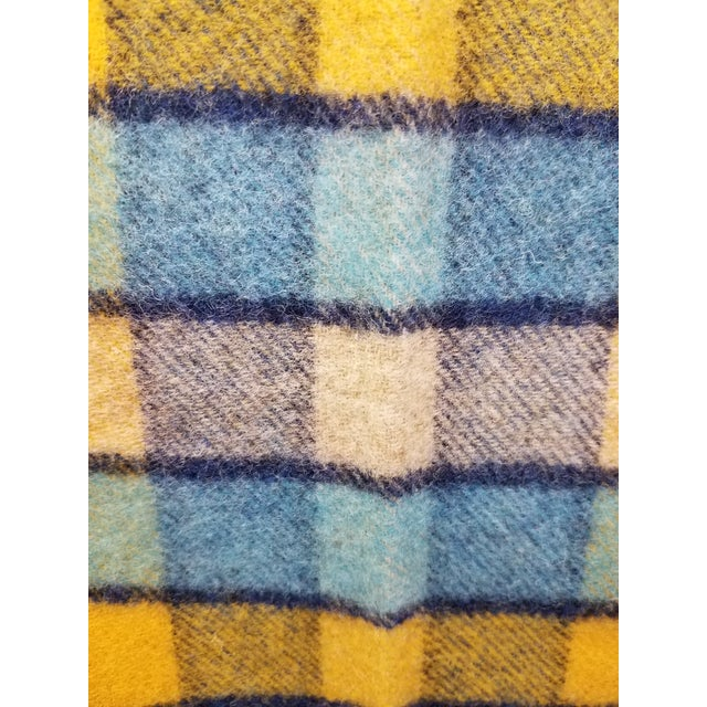 Wool Throw Blues and Yellow Squares - Made in England For Sale - Image 9 of 13