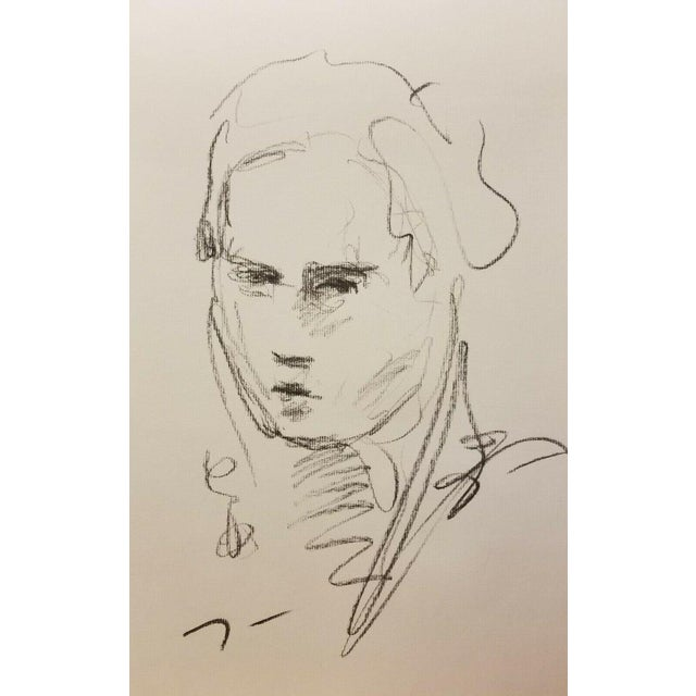 """Jose Trujillo Contemporary Abstract Charcoal Paper Sketch Line Drawing - 11x17"""" For Sale"""