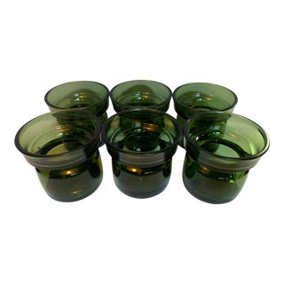 Dansk Designs Emerald Glass Candle Holders - Set of 6 For Sale