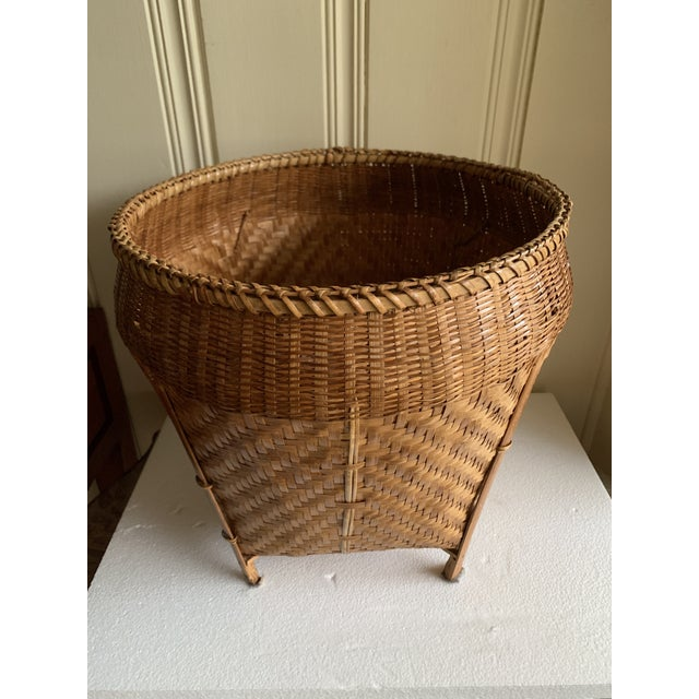 Beautiful classic vintage Asian decor or storage basket. Perfect for storage of rolled towels, throws, firewood or as a...