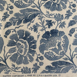 G. P. & J. Baker Poppies in Blue Linen Fabric- 2 Yards For Sale