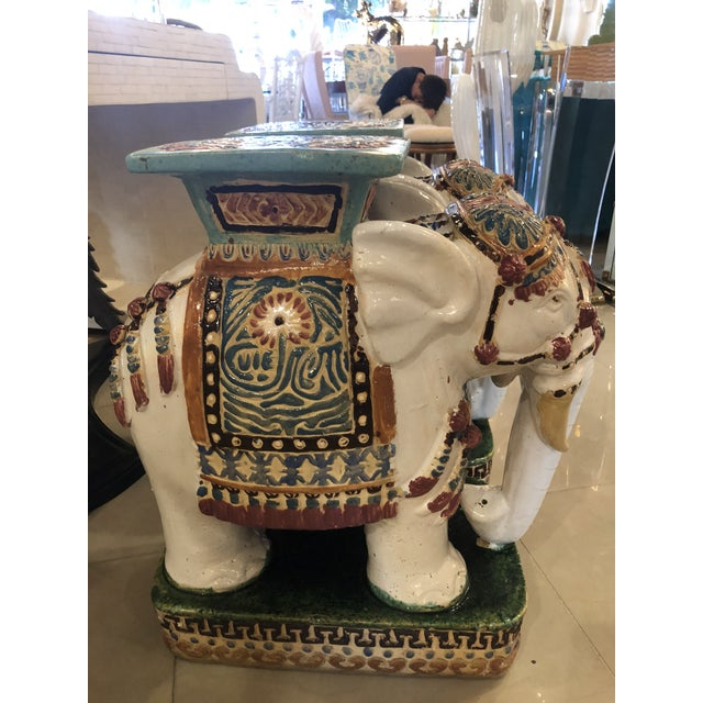 Ceramic Vintage Hollywood Regency Garden Stools Stands Side Tables Elephants - A Pair For Sale - Image 7 of 13