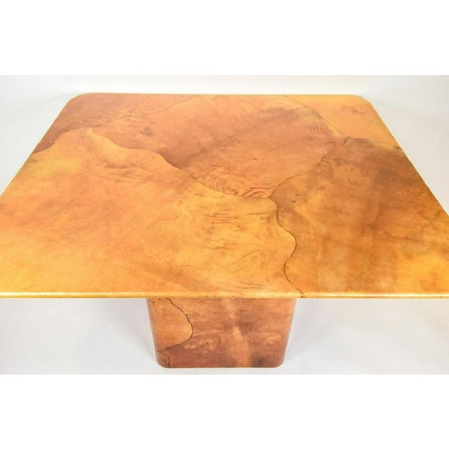 Faux Lacquered Goatskin Dining Table by Karl Springer.
