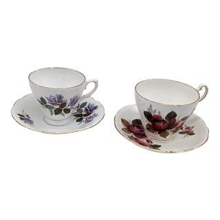 Vintage Floral Bone China Teacup & Saucer Set - 4 Pieces For Sale