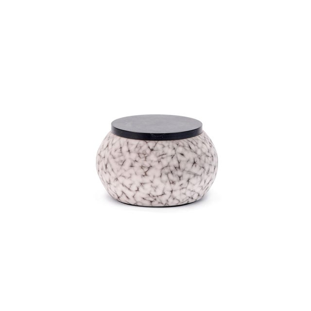 2010s Light Charcoal Handmade Patterned Earthenware Small Round Box With Lacquer Lid by Gilles Caffier For Sale - Image 5 of 5