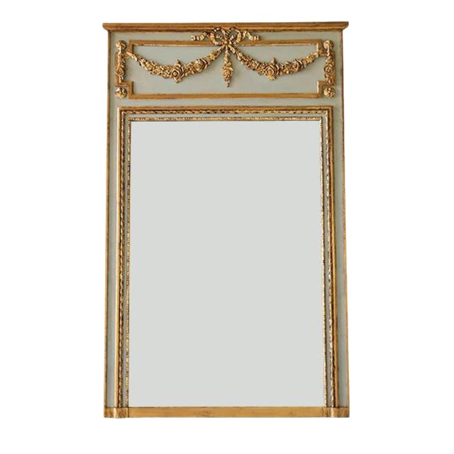 Ave Home Neoclassical Style Gray and Gold Leaf Trumeau Wall Mirror For Sale