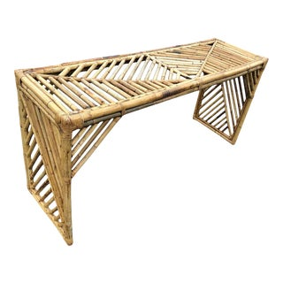 Mid Century Faux Bamboo Console Table or Desk For Sale