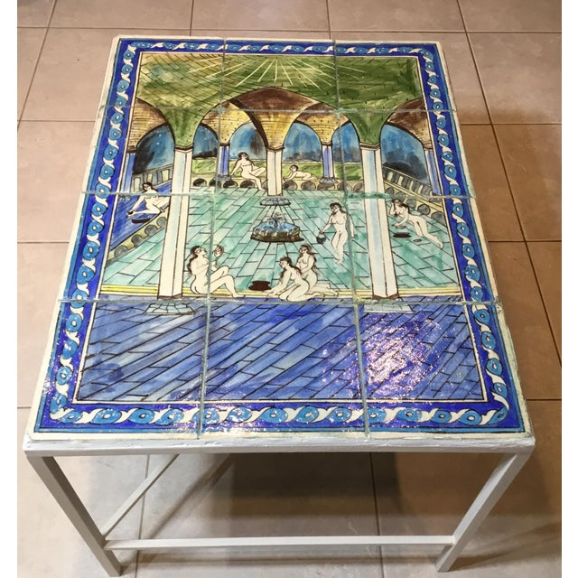 Vintage Persian Tile Top Coffee Table For Sale - Image 4 of 13