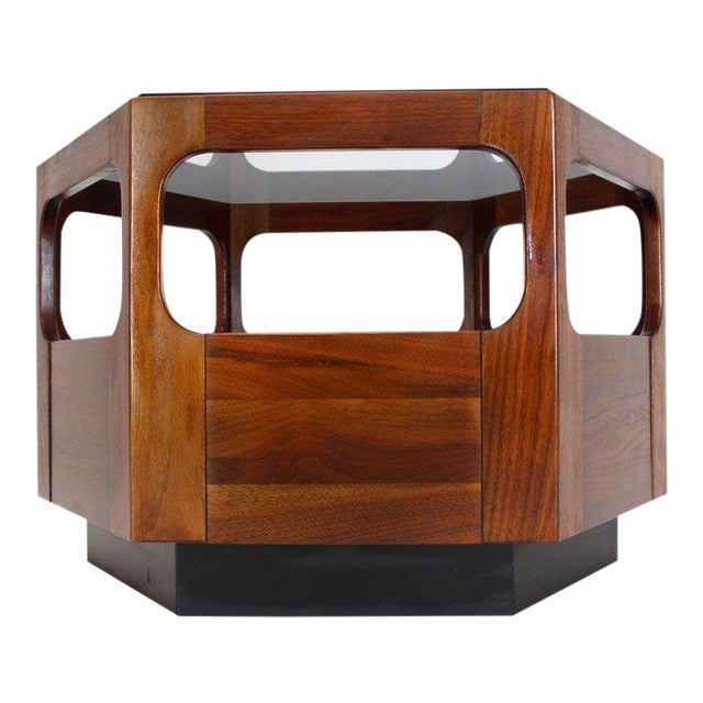 Solid Oiled Walnut Fitted Smoked Glass Top Hexagon Center Side End Table For Sale