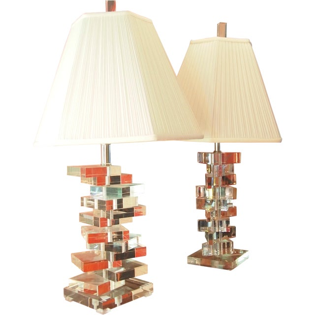 Clearlite by Bauer Stacked Lucite Lamps- A Pair For Sale
