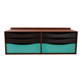 Modernist Walnut and Metal Wall Hanging Cabinet For Sale