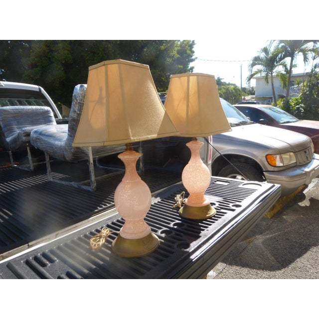 Glass 1960s Mid Century Modern Pink Flake Murano Art Glass Lamps - a Pair For Sale - Image 7 of 9