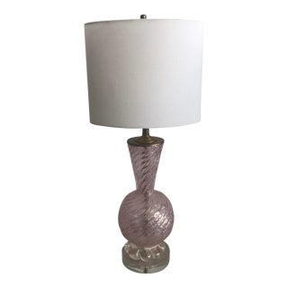 Vintage Pink Murano Glass Table Lamp For Sale