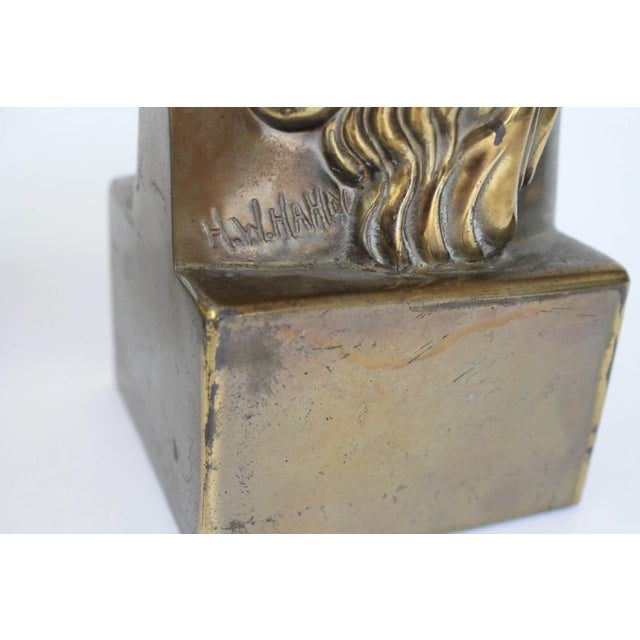 Art Deco Female Brass Bookends For Sale - Image 3 of 11