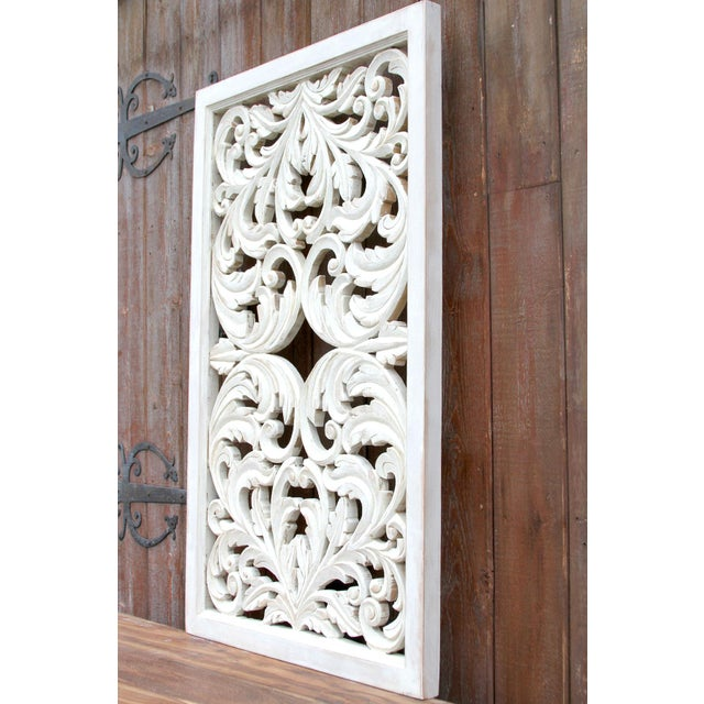 Acanthus Whitewashed Wooden Carved Panel For Sale In Los Angeles - Image 6 of 11