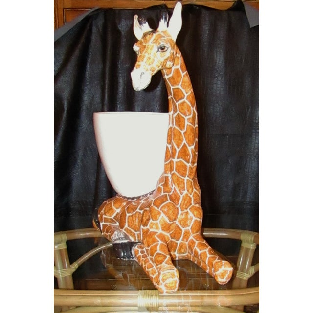 Large Italian Ceramic Giraffe Statue Planter For Sale - Image 4 of 7