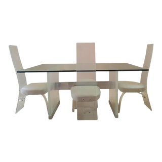 Lucite & Metal Hi-Back Dining Set For Sale