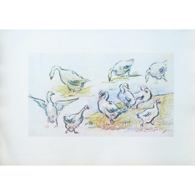 Cottage Style Hungarian Geese Lithograph by Alfred Sisley, 1959 For Sale - Image 10 of 11