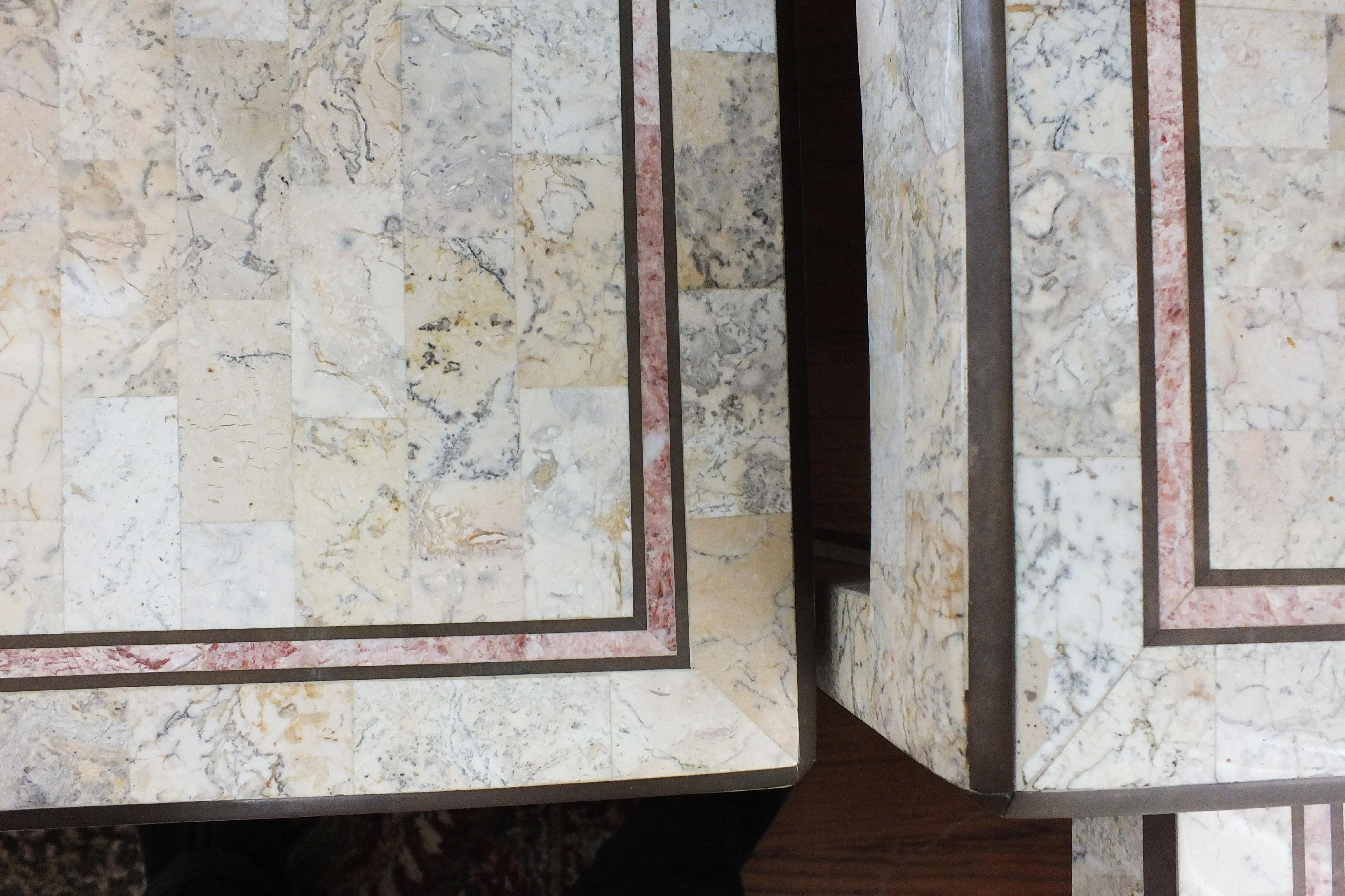 Maitland Smith Tessellated Marble And Brass Inlay Tables