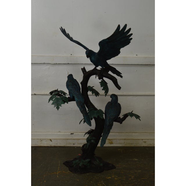 Renaissance Cold Painted Bronze Large Statue of Jungle Birds on a Tree For Sale - Image 3 of 13