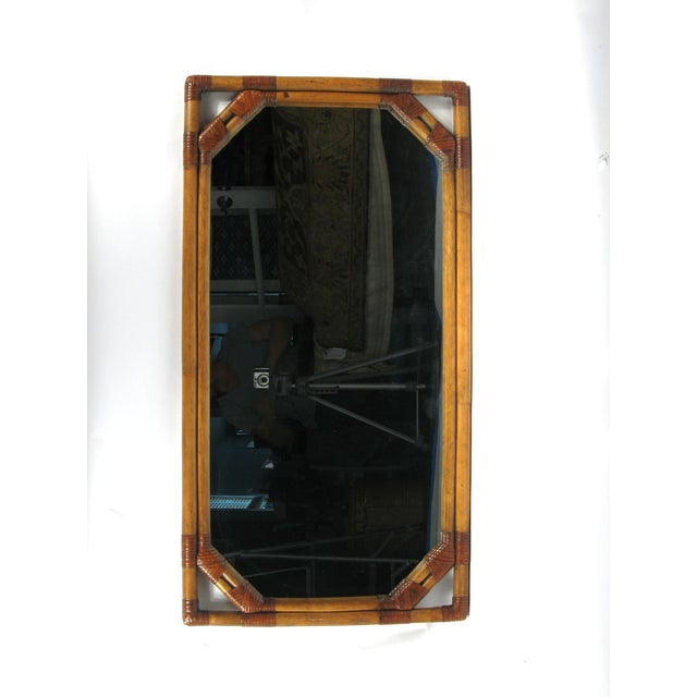 Vintage Drexel Heritage Bamboo & Leather Mirror - Image 2 of 6