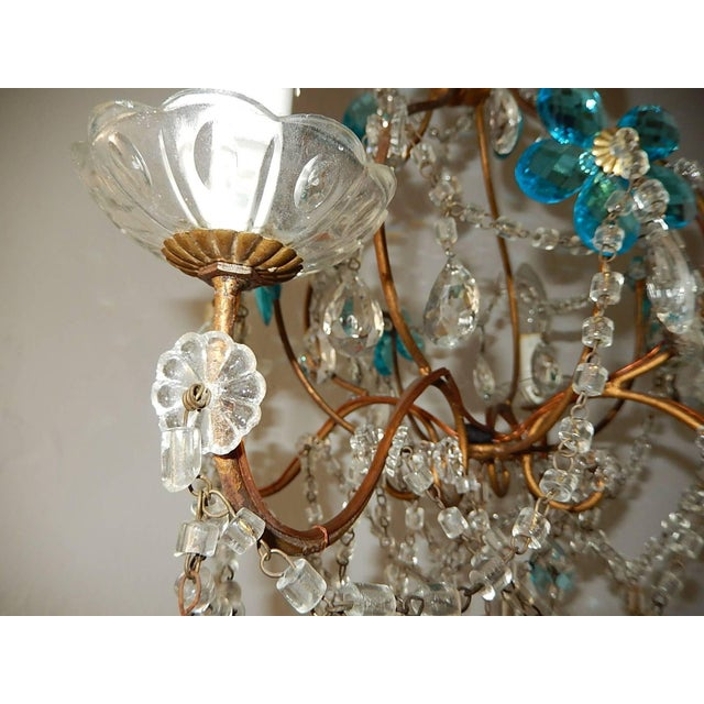 Glass 1920 French Bagues Style Aqua Flowers Crystal Chandelier For Sale - Image 7 of 10