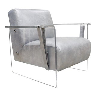 Pasargad Home Eleganza Modern Faux Leather Lucite Base Armchair For Sale