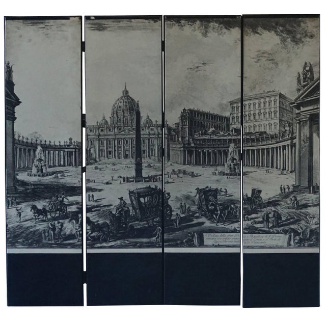 Mid-Century Modern Italian Four-Panel Room Screen After Piranesi For Sale - Image 4 of 4