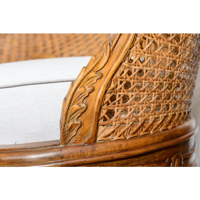 Antique French C.1870-1880 Louis XVI Style Hand Carved Wood Settee With Double Canning For Sale - Image 4 of 13