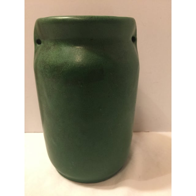 1920s Mission Arts & Crafts Green Art Pottery Vase For Sale - Image 5 of 8