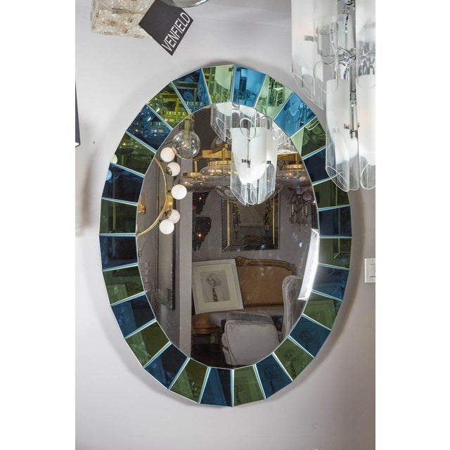 Glass Custom Oval Mirror with Blue and Green Beveled Mirror Squares Surround For Sale - Image 7 of 7