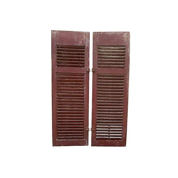 Primitive Red Shutters - A Pair For Sale In Houston - Image 6 of 6