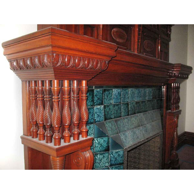 Traditional Carved Mahogany & Tile Mantel For Sale - Image 3 of 10