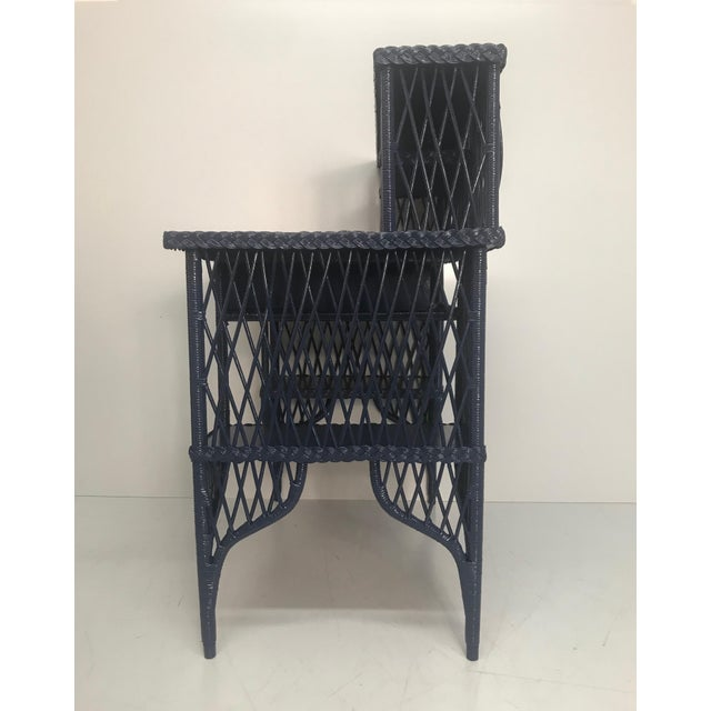 Hollywood Regency 1960s Navy Rattan Writing Desk With Topper For Sale - Image 3 of 9