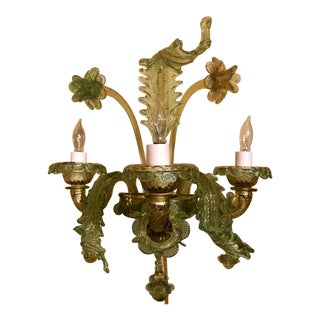 Pair Estate Venetian Glass Sconces. For Sale
