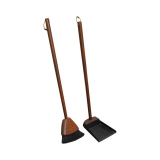 Sk Sowe Sweden Danish Modern Vintage Teak Fireplace Brush & Shovel Tools Set