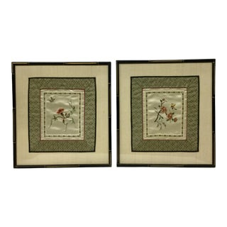 1960s Vintage Framed & Matted Chinese Silk Embroidered Panels- a Pair For Sale