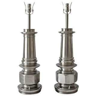 Pair of Chrome Lamps by the Stiffel Lamp Co. For Sale