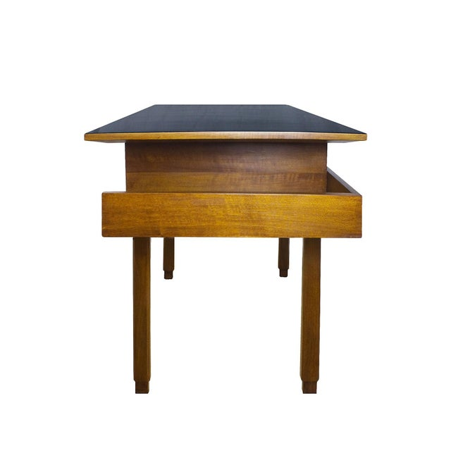 1970s 1970s Rationalist Desk by Pietro Bossi, Waxed Walnut, Brass, Formica - Italy For Sale - Image 5 of 13