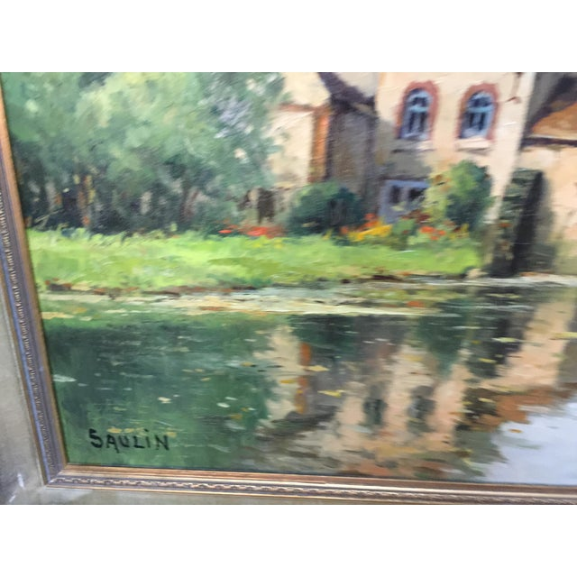 1960s Saulin Oil Painting French Landscape Moulin Des Beechet a Olivet For Sale - Image 5 of 6
