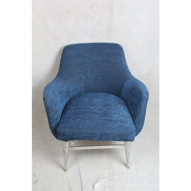 Mid-Century Modern Blue Silk Linen Chairs With Chrome Base and Legs - a Pair For Sale - Image 4 of 10