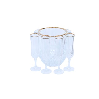 Cut Glass Champagne Bucket & 4 Champagne Flutes Preview