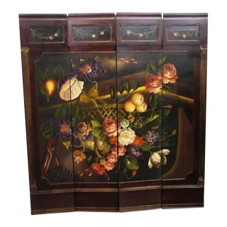 Fruit & Flower Hand Painted Screen For Sale