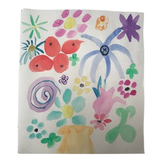 Floral Design from a 1980s Fashion Sketchbook For Sale